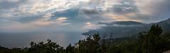 Tavrida. Clouds at sunset (Alexander St.) Tags: sunset sea mountain black beach rain clouds cloudy russia ngc ru crimea panoram