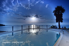 Blue Serenity (Holfo) Tags: blue filter sunset clouds nikon d5300 greece corfu pool reflection serene cokin sanstefanos aghiosstefanos serenity holiday cool greek beautiful ionian mediterranean tones shades outdoor beauty med reflects calm super superb fab fabulous