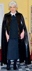 Ingrid020207 (ingrid_bach61) Tags: shiny skirt mature button cape waistcoat pvc pleated weste faltenrock bowblouse schleifenbluse durchgeknöpft