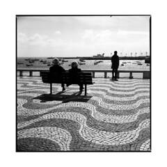 waves • cascais, portugal • 2015 (lem's) Tags: street portugal motif bench couple waves pattern pavement bronica rue vagues cascais banc trottoir zenza