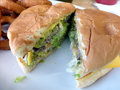 Green Chile Cheeseburger, Arrey, New Mexico (RV Bob) Tags: chile food newmexico gimp cheeseburger greenchile arrey greenchilecheeseburger arreycafe