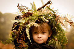 Play in the woods (Sandy Sharples) Tags: autumn boy portrait england fern green nature childhood woods dof play natural bokeh camouflage