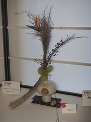 "Asclepias, Bird of Paradise, Beauty Berry & Dried Grass by Anna Hutchinson ""Koryu School"". (nano.maus) Tags: lauritzengardens japaneseflowerarrangement omahabotanicalsociety japaneseambiencefestival"