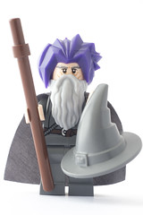 Gandalf's bad hair day, that's why he wears the hat (tomtommilton) Tags: macro film hat hair movie ian toy toys grey photo funny purple lego wizard earth character joke humor gray humour lord lotr rings photograph legos gandalf movies minifig minifigs middle hobbit supermacro badhairday dimensions minifigure mckellen afol minifigures mithrandir