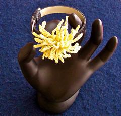 Chrysanthemum Bracelet (vashtirama) Tags: beaded seedbeads wristcorsage crochetflower crochetjewelry crochetbracelet crochetchrysanthemum homecomingmumcorsage 20crochetthread