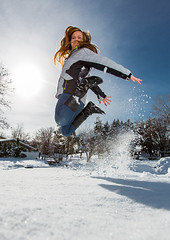 Happy Love to Leap Thursday! (Flickr_Rick) Tags: autumn woman snow cold fall girl outside jump jumping breanne jumpology