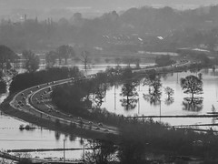 Isolated bypass (tubblesnap) Tags: road bw white storm black wet rain weather river flooding fuji flood rainy valley fields dual raining aire bypass flooded carriageway silsden a629 xs1 cobbydale