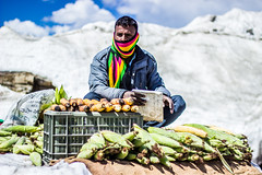 Corn Seller (sushilpatro) Tags: blue sky white snow mountains cold colors clouds corn rohtang