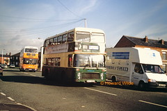 Last one into Ashton is a sissy (SelmerOrSelnec) Tags: bus bristol competition ashtonunderlyne vr leyland deregulation kingsroad ecw atlantean crosville gmbuses northerncounties pennineblue ocy915r mnc504w