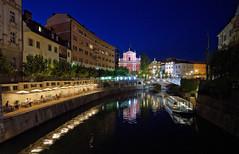 Ljubljanica river banks (marko.erman) Tags: city bridge blue church architecture night river town eau sony horizon illuminations rivire slovenia hour ljubljana slovenija paysage extrieur ville ljubljanica tromostovje