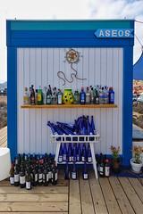 Verano Azul (blue summer) caf (RagbagPhotography) Tags: white shack outdoors sea beach toilets aseos caf wine bottles blue spain bluesummer veranoazul lamanga murcia cabodepalos lighthouse faro