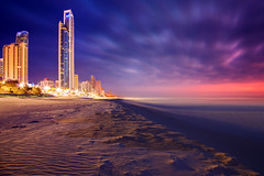 Surfers Paradise Dawn || GOLD COAST || AUSTRALIA (rhyspope) Tags: australia aussie qld queensland canon 5d mkii rhys pope rhyspope surfers paradise night long exposure ripple sand waves water sea ocean marine building city cityscape clouds weather red blue gold coast