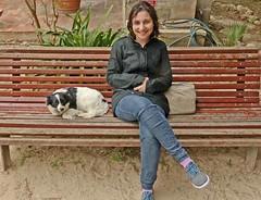 Monday Colours - Sasha and New Friend (Pushapoze) Tags: italia italy sicilia mothiaisland bench hbm