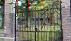 Museum Dordrecht 3D (wim hoppenbrouwers) Tags: museum dordrecht 3d anaglyph stereo redcyan fence gate hek platanen