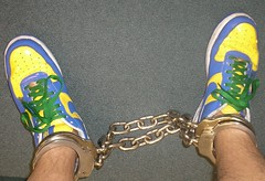 AF1 in double leg irons (asiancuffs) Tags: handcuffs handcuffed arrest arrested inmate prisoner shackles shackled af1