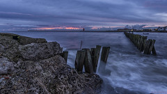 The Flood (whistlingtent) Tags: north shields high tide jetty groyne long exposure rocks clouds sky silky smooth water sea seaside coast boat