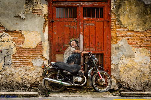 'Old Motorcycle' - Street Art, George Town, Penang Malaysia.