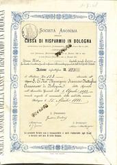 CASSA DI RISPARMIO IN BOLOGNA SOC. AN. DELLA (scripofilia) Tags: 1883 azioni bologna cassa cassadirisparmio risparmio societanonima