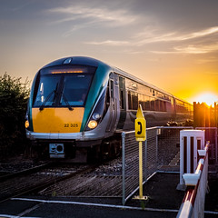 Train from the sun (cogy) Tags: irish rail 22000 dmu ferns crossing kilcock kildare ireland
