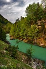 096 - Emerald Stream (- cornuspixels -) Tags: spring mountain rock green trees cloudy blue sky emerald stream austria alps canon eos 20d vertical landscape