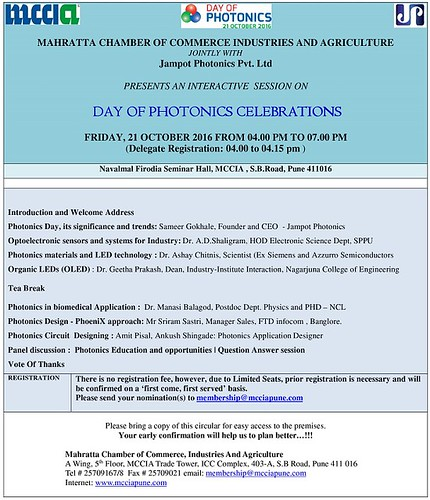 21stOct2016 - Day Of Photonics-Event Agenda