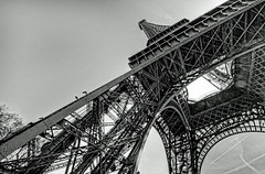 Under Eiffel Tower (cmfgu) Tags: paris france europe europeanunion eiffeltower toureiffel leftbank champdemars gustaveeiffel ironlattice 1889worldsfair 125thanniversary 7tharrondissement 7thdistrict hdr highdynamicrange bw blackandwhite