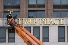 Removing Trump Place signs. (Gimo Nasiff) Tags: gimo nasiff photography trump place towers riverside park letters sign crane workrs building nyc new york city uws upper west side sony a6000 ilce6000 photojournalism journalism