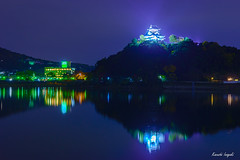 Night view of Inuyama castle () Tags: aichipref inuyamacastle inuyamacity japan kisoriver castle nationaltreasure night nightscape nightview