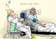 Coup de mou (dessins_urgence) Tags: burnout dessinsdurgence épuisée fatigue infirmière patient sieste soignants