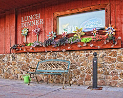 bench at the diner...HBM! (LotusMoon Photography) Tags: bench benchmonday summer outdoor diner sidewalk springgreen vacation wisconsin lunch dinner annasheradon lotusmoonphotography theshed bar popular