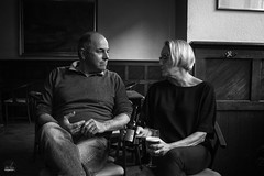 glass of beer (Urtsan) Tags: two people bw monochrome couple noiretblanc duo em10