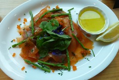 Smoked salmon trout starter with lemon olive oil, edible flowers (tedesco57) Tags: starter beef salmon wrap asparagus trout smoked carpaccio