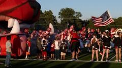 From the Mouth of the Inflated Bulldog (Photographs By Wade) Tags: oklahoma students cheerleaders highschoolfootball footballplayers skiatook osagecounty fridaynightfootball enteringthefield skiatookbulldogs