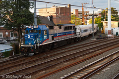 Coming off the Branch (jwjordak) Tags: usa train ct junction metronorth 113 catenary passengertrain southnorwalk metronorthrailroad mncr bl20gh