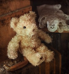 travelin' teddy (s@ssyl@ssy) Tags: vintage waiting sitting teddy cabinet lace shelf lonely suitcase textured packed htbt