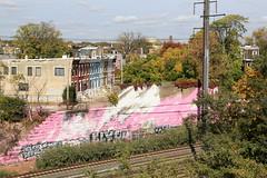 katharina grosse takeover (Luna Park) Tags: art philadelphia graffiti pennsylvania pa lunapark reach trackside finearts katharinagrosse wyse muralarts
