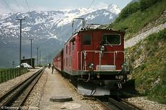 Furka Oberalp HGe 4/4 37 Tschamut-Selvas, 22.06.1974 (Tramfan2011) Tags: schweiz swiss berge fo mgb oberalp furka zahnradbahn furkaoberalp