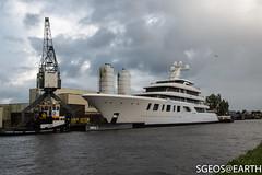 Yacht Aquarius - 92 m (SGEOS@EARTH) Tags: feadship yacht aalsmeer alphen aan den rijn transport canon eos sgeosearth aquarius jacht