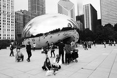 "Cloud Gate (aka ""The Bean"") (halifaxlight) Tags: unitedstates illinois chicago millenniumpark cloudgate thebean sculpture anishkapoor stainlesssteel art plaza people reflections skyscrapers bw"