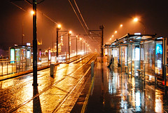 Bus stop (fotoferri) Tags: d60 neon nikon urbanjungle trip turchia trkiye istnbul rain metro bus cronacheurbane night art
