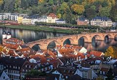 The Alte Brcke (old bridge), Neckar River and Heidelberg (PhotosToArtByMike) Tags: schlossheidelberg altebrcke oldbridge heidelberggermany heidelberg germany neckarriver oldtownheidelberg medieval neckarvalley heidelbergcastle badenwrttemberg europe