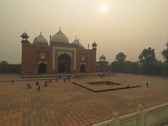 2016-11-04 Taj Majal - the unused building built only to balance the layout through the mist of pollution (Travel With Olga) Tags: tajmahal india agra mosque islam religion tomb mausoleum crypt mughal mogul mongol architecture monument cenotaph marble smog pollution monkey pools islamicart sandstone shahjahan mumtaz love lovers
