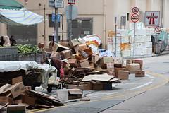 Cardboard, cardboard everywhere... (SelmerOrSelnec) Tags: hongkong northpoint cardboard boxes market