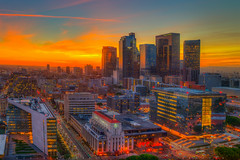 Downtown Los Angeles Skyline at Sunset as seen from the City Hall Observation Deck (Michael Holden) Tags: california cityhall dtla downtownlosangeles losangeles observationdeck socal architecture city hdr skyline sunset wideangle