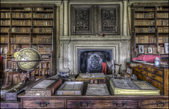 Canons Ashby Book Room 2 (Darwinsgift) Tags: canons ashby book room library northamptonshire national trust hdr photomatix nikkor 20mm f18 g nikon d810 desk globe history dryden house home leather bound books fireplace interior