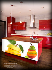 Red modern kitchen with island (COCIMAS CALDAS) Tags: apartment architecture black bright built cabinet cabinets clean contemporary counter counters creative decor decorating decoration design domestic dream dwelling estate expensive floor fruit granite home household indoor inside interior kitchen lifestyle luxury modern remodel remodeling residential sink space stainless steel style townhome urban white wood red canada