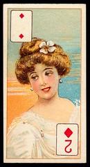 Cigarette Card - 2 of Diamonds (cigcardpix) Tags: cigarettecards advertising ephemera vintage beauty playingcard