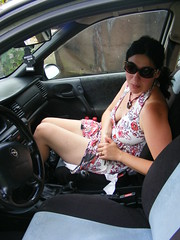 Balkan summers.... Its so hot in the car..... (seanfderry-studenna) Tags: nina car summer dress white sunglasses glasses seat steering wheel long dark hair brunette legs arms shoulders face mouth neck throat hot windows female woman girl lady girlfriend ficancee wife married beauty beautiful gorgeous stunning charming balkans candid unposed natural necklace august 2014 kraljevcani croatia serb people person inside seated sitting tan tanned bare skin