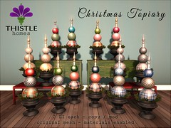 Thistle Christmas Topiary Fatpack (Liz Gealach) Tags: lizgealach fameshed second life sl secondlife christmas holiday decor deco furniture topiary thistle homes home cottage house