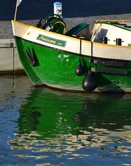 Pelican reflection (Jeanne Menj) Tags: green water reflection lyon confluence péniche eau boat reflet